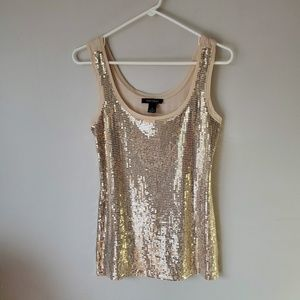 WHBM Gold Front Sequin Shimmer Nude Tank Size S